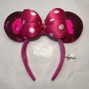 Disney Park Mouse Ears Pink Minnie Sequin Headband